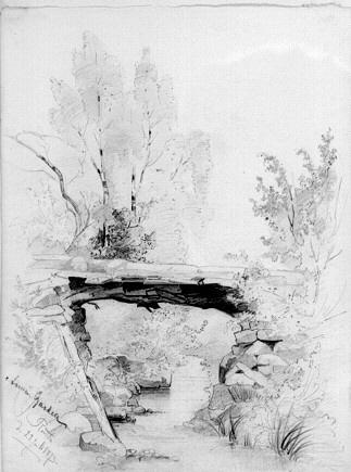 Landskap med en bro över ett vattendrag