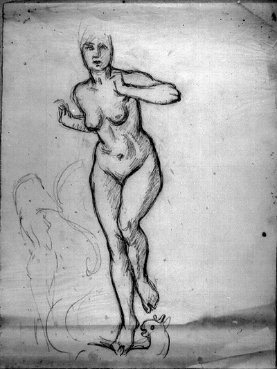 """Naken kvinna. Studie till målningen.""""Huldran"""""""