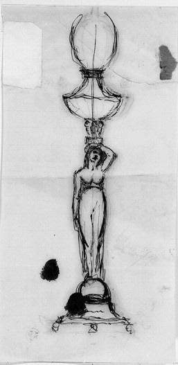 Lampa med karyatid i antikiserande stil