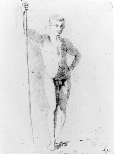 Manlig modell med stav