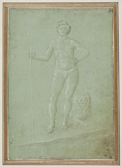 Ung naken man med stav i handen. Ett lejon ligger vid hans fötter