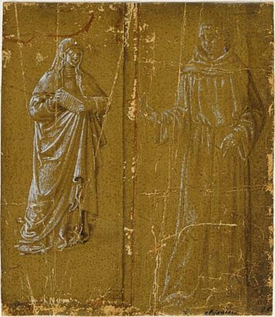 Nunna med en bok i handen och en tiggarmunk
