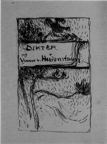 """Skiss till omslaget till """"Dikter"""" av von Heidenstam"""