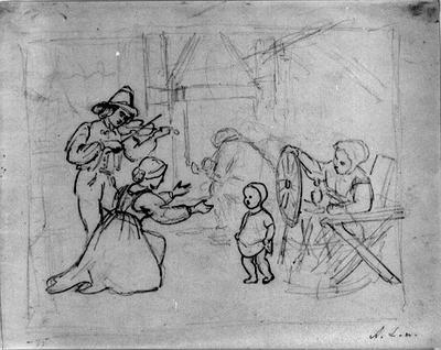 Interiör med fiolspelare, spinnerska, piprökare och kvinna med barn