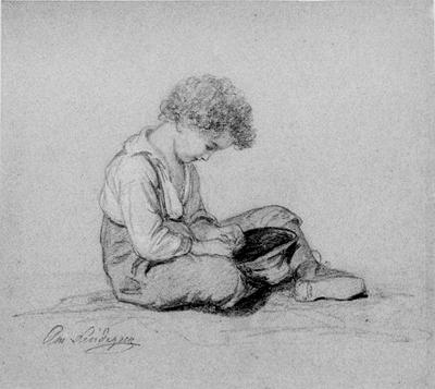 Sittande gosse med hatt i knät