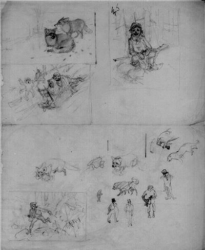 Skisser: Pojke med gevär samt rävar