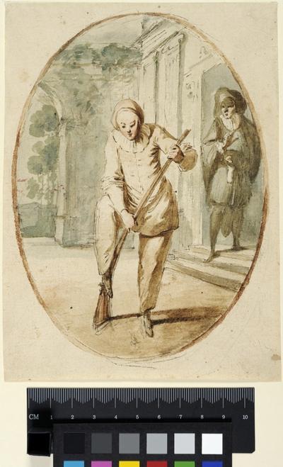 Två figurer ur Commedia dell'arte. Ovalkomposition
