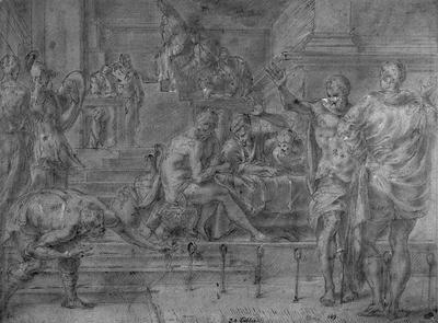 Odysseus skjuter med sin båge i närvaro av Penelopes friare
