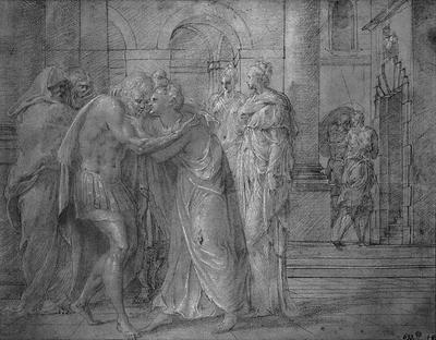 Odysseus och Penelope möts och omfamnar varandra