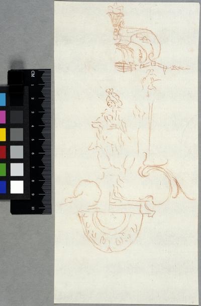 Skiss till dekorativt element, turbanklädd figur under baldakin