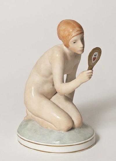 Figurin, flicka med spegel