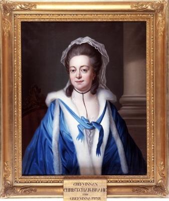 Image from object titled Kristina Charlotta Piper , grevinna , 1734-1800 , gift 1. greve Erik Brahe , 2. greve Ulrik Scheffer. Oljemålning på duk.