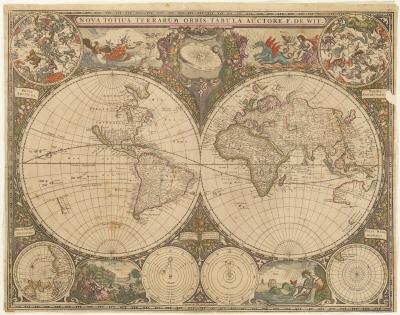 Image from object titled Karta med två hemisfärer (=halvklot), den ena visande Nord- och Sydamerika, den andra Europa, Asien och Australien.