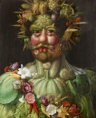 Vertumnus var årstidsväxlingarnas gud hos romarna. Porträttet är en hyllning till den habsburgska, tysk-romerska kejsaren, som bodde i Prag.