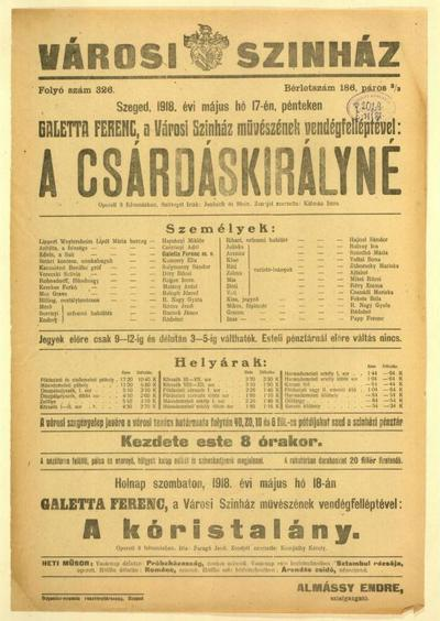 Image from object titled A csárdáskirályné