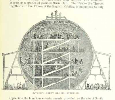 """Image from object titled Wylde's Great Globe from """"Two Centuries of Soho: its institutions, firms, and amusements. By the Clergy of St. Anne's, Soho, J. H. Cardwell ... H. B. Freeman ... G. C. Wilton ... assisted by other contributors, etc"""""""