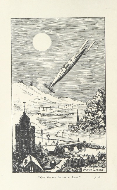 "Image from object titled fantasy art from ""Fifteen Hundred Miles an Hour. [The story of a visit to the planet Mars.] Edited [or rather written] by C. Dixon, etc"""