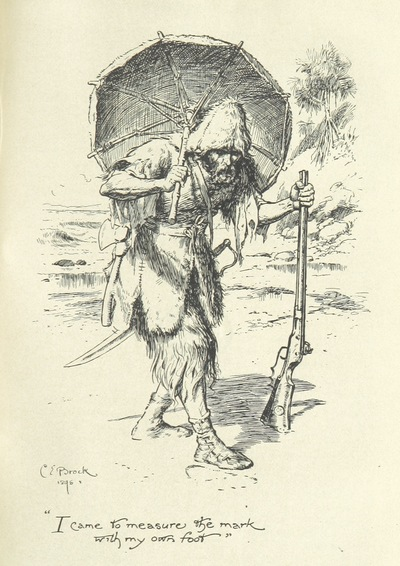 "Image from object titled I_came_to_measure_the_mark_with_my_own_foot from ""The Life and Adventures of Robinson Crusoe ... With sixteen illustrations by C. E. Brock. [Part two is abridged.]"""