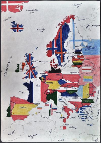 Image from object titled Veiko Spolīša zīmēta Eiropas karte