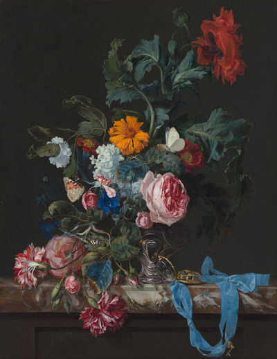 Image from object titled Flower Still Life with a Timepiece
