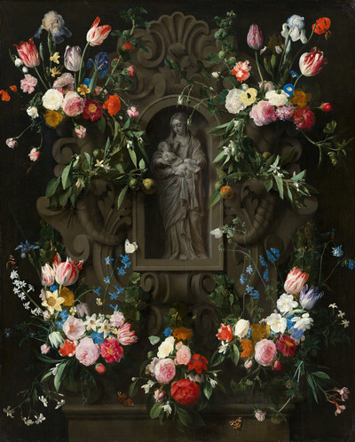 Garland of Flowers surrounding a Sculpture of the Virgin Mary | Daniël Seghers; Daniel Seghers; Thomas Willeboirts Bosschaert