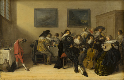 Image from object titled Merry Company Dining and Making Music
