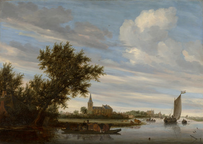 Image from object titled River View with Church and Ferry