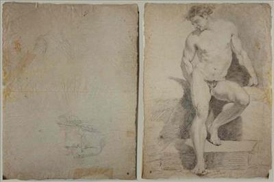 Drawing of a male nude stepping off a stone block, of a knight in coat and of a gentleman