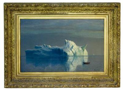 Floating Iceberg and a small boat