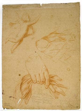 Drawing of a hand clasping a handkerchief, a Maltese female and an angel