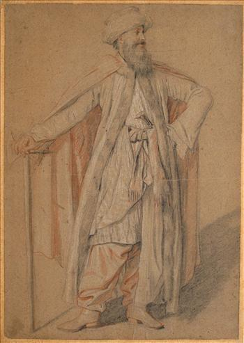 Drawing of a standing oriental figure in turban