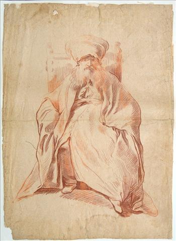 Drawing of a seated oriental bearded elder