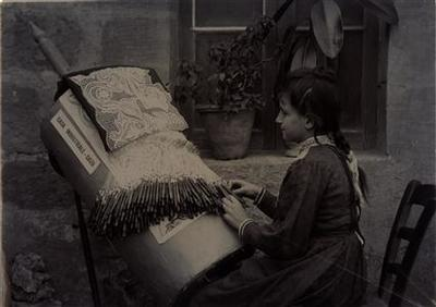 Lady working lace in Gozo