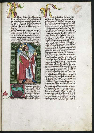 Image from object titled Textseite mit Initialen und Darstellung des König Georg von Podiebrad