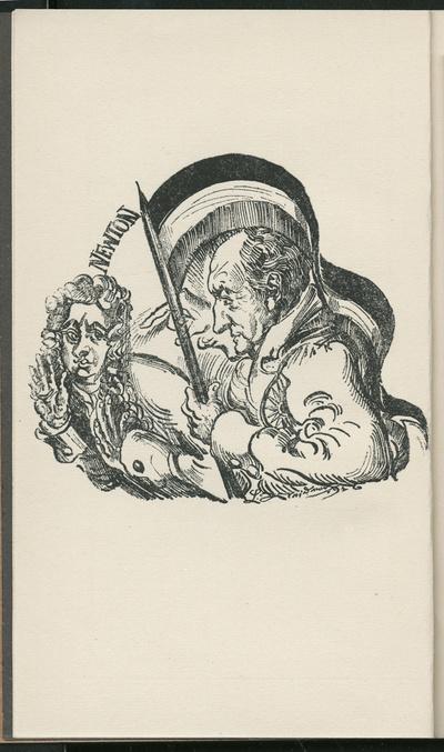 Illustration zu Schwarz - Weiss - Rot oder Deutschlands Sieg über England unter Goethes Farben. Will sagen: Solange Newton herrscht, siegt England. Zeichnung von Ludwig Meidner 1916. Frontispiz in: Mynona [Pseud.]...