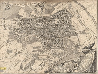 Stadtplan von Augsburg, ca. 1:4 800, Kupferst., 1719