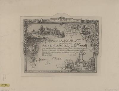 Ansicht der Ausstellungsgebäude in Dresden, Lithographie, 1896