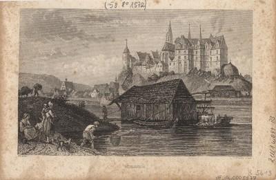 Ansicht von Meißen mit Schiffsmühle, Stahlstich, um1840