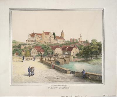 Ansicht von Schloß Colditz, Lithographie, um 1850