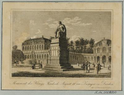 Image from object titled Ansicht des Denkmals von Friedrich August I. König von Sachsen , Radierung. um 1843