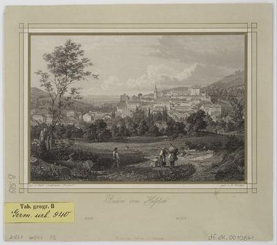 Ansicht von Baden-Baden vom Hässlich, Stahlstich, 1845?