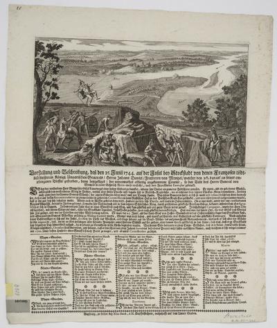 Ansicht zum Tod des Generals Menzel auf der Schanze bei Stockstadt, Radierung, 1744