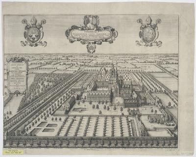 Vogelschauansicht von Tungerloh, Radierung, 1650