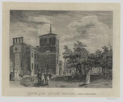 Ansicht der Rückfront des State House (heute Carpenters' Hall) in Philadelphia, Lithographie, 1800