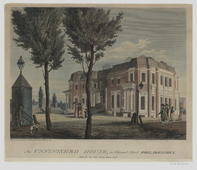 Ansicht eines nicht fertig gebauten Hauses in Philadelphia, Lithographie, 1800