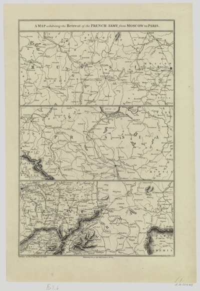 Militärkarte des napoleonischen Feldzuges Paris-Moskau, 1:750 000, Lithographie, 1815