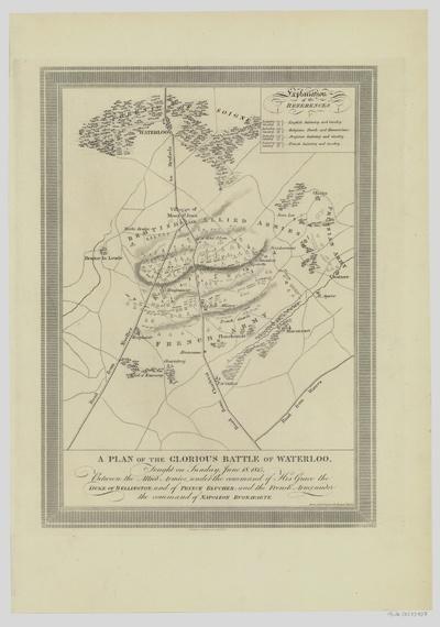Plan Schlacht bei Waterloo (auch Schlacht bei Belle-Alliance) vom 18. Juni 1815, Lithographie, 1816