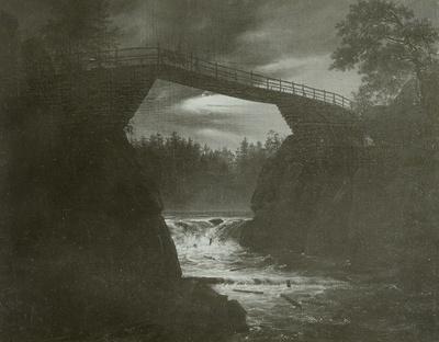 Brücke über einer Schlucht bei Mondschein