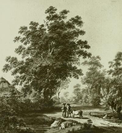 Landschaft in holländischem Stil mit Staffage