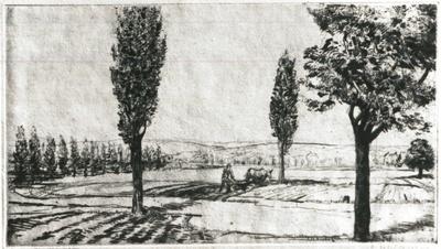 Landschaft mit Pappeln